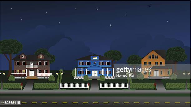Suburbia - Houses at night - Illustration