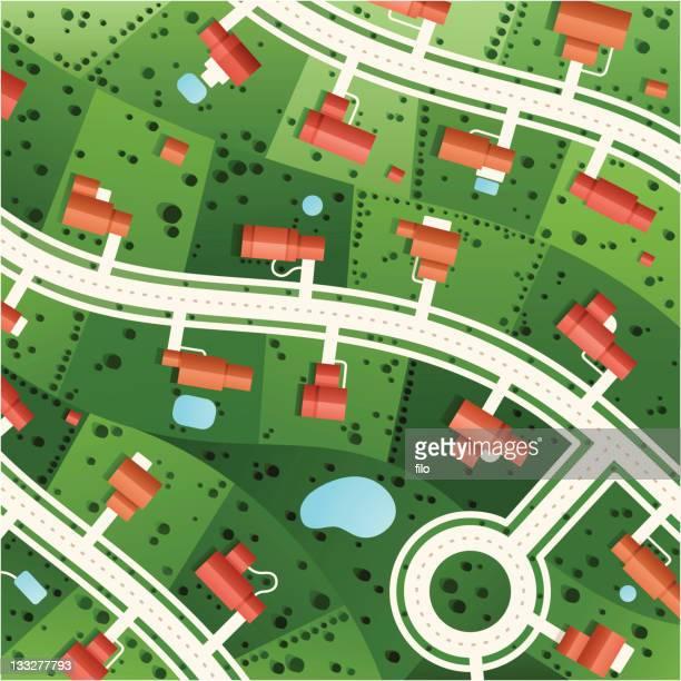 suburbs - housing development stock illustrations