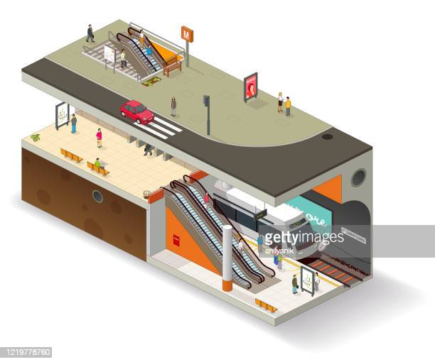 subway cutaway uk version - road marking stock illustrations