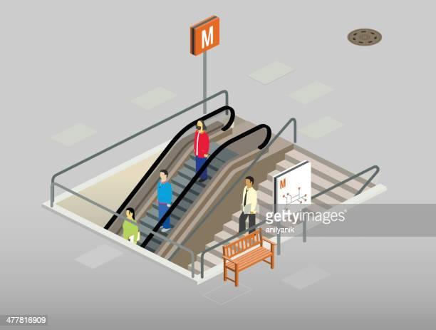 subway entrance - entrance stock illustrations, clip art, cartoons, & icons