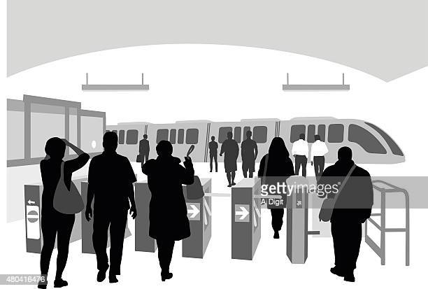 subway entrance with passengers - entrance sign stock illustrations