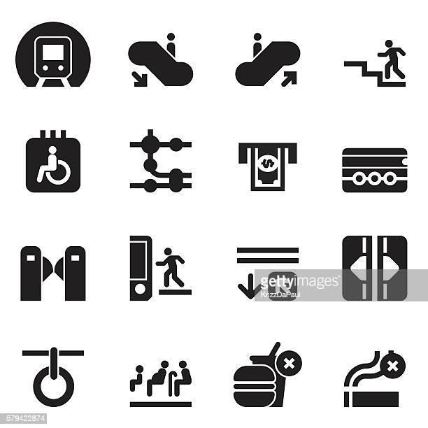 subway icons [black edition] - paris metro sign stock illustrations