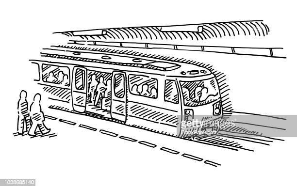 Metrostation stoppen trein tekening