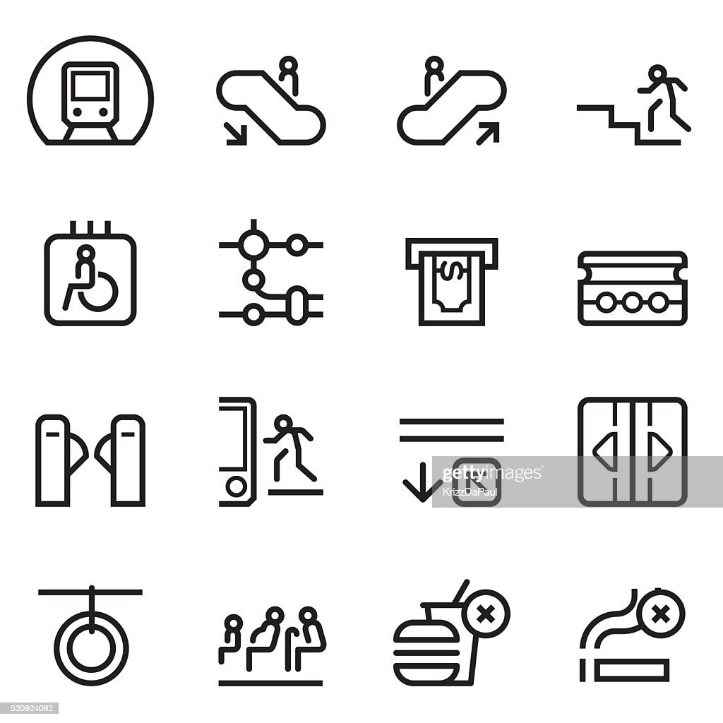 Subway Thin Line Icons