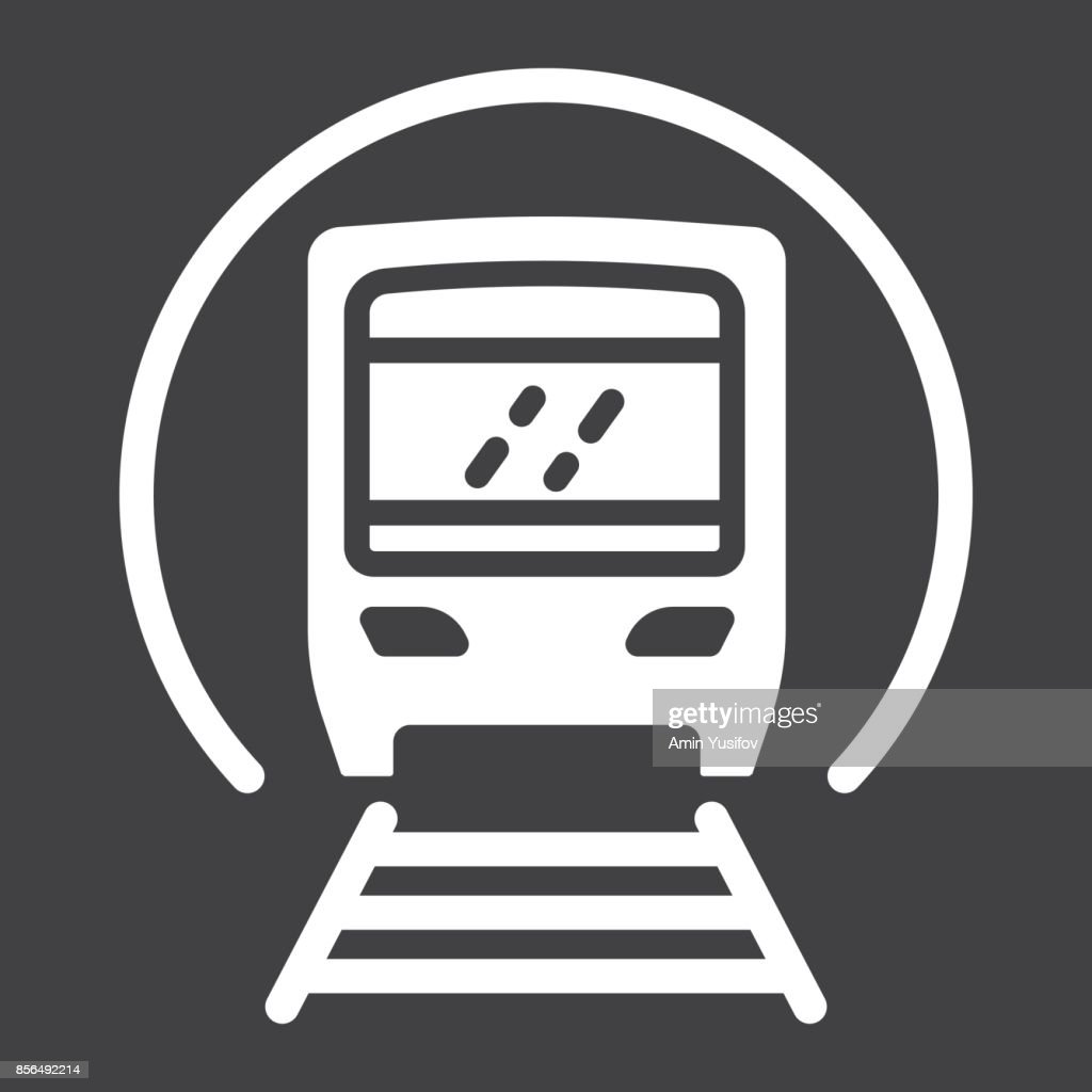 Subway train glyph icon, transport and railway, metro sign vector graphics, a solid pattern on a black background, eps 10.