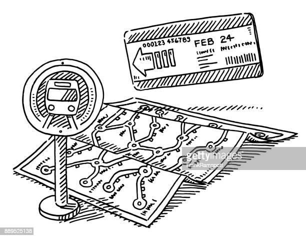 Vervoer metrokaart Ticket tekening