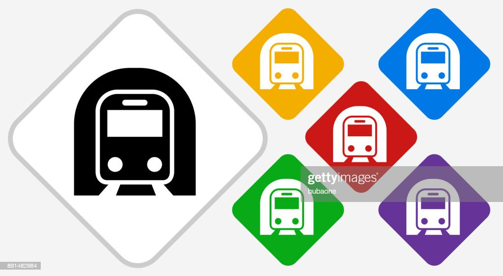Subway Tunnel Color Diamond Vector Icon