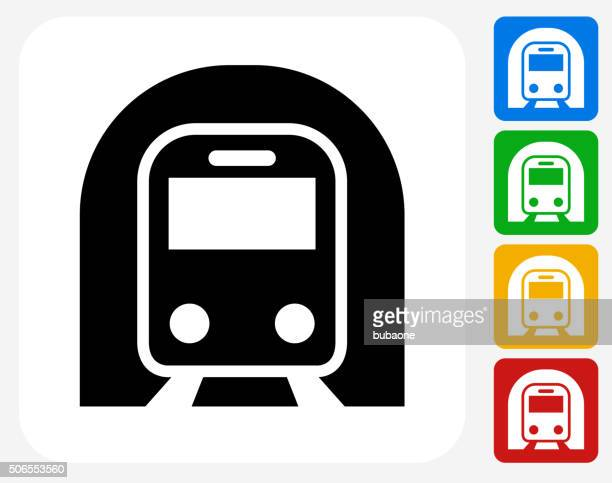 subway tunnel icon flat graphic design - subway train stock illustrations, clip art, cartoons, & icons