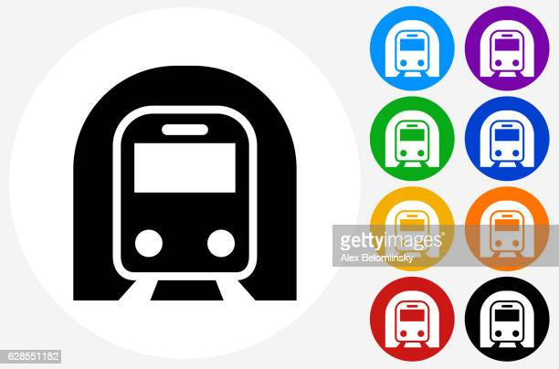 Subway Tunnel Icon on Flat Color Circle Buttons