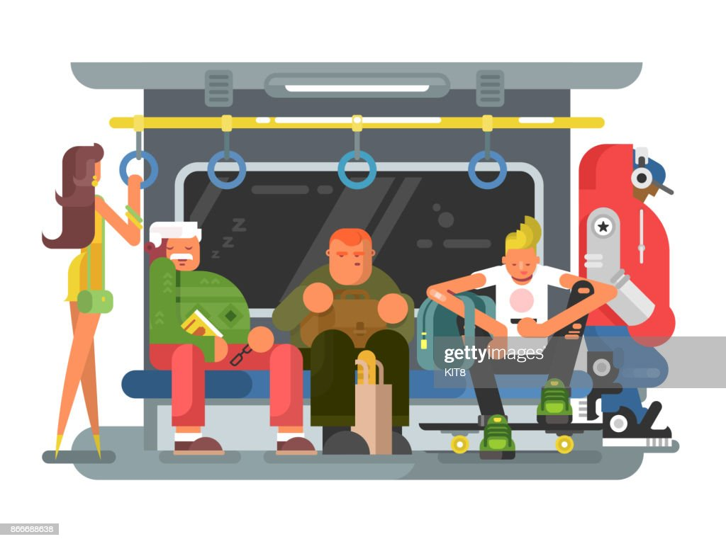 Subway with people man and woman flat design