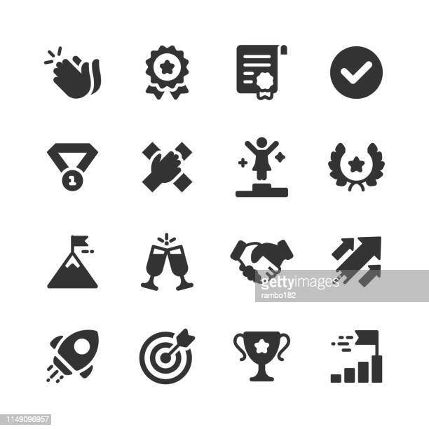 success and awards glyph icons. pixel perfect. for mobile and web. contains such icons as applause, medal, badge, winning, rocket, trophy. - award stock illustrations