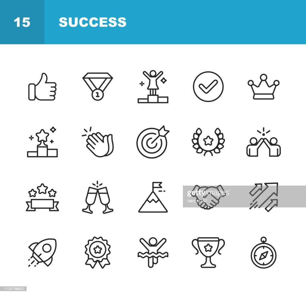 Iconos de líneas de éxito y premios. Trazo editable. Pixel Perfect. Para móvil y Web. Contiene iconos como ganar, trabajo en equipo, primer lugar, celebración, cohete. : Ilustración de stock