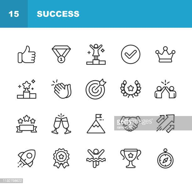 success and awards line icons. editable stroke. pixel perfect. for mobile and web. contains such icons as winning, teamwork, first place, celebration, rocket. - success stock illustrations