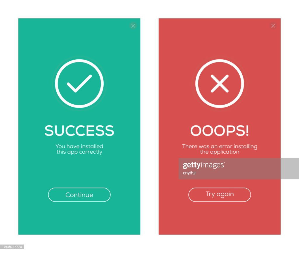 Success and Error Message Screen Design