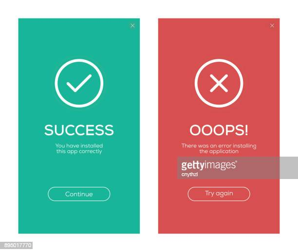 success and error message screen design - failure stock illustrations
