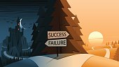 Success and Failure Decision Making Road Junction Concept