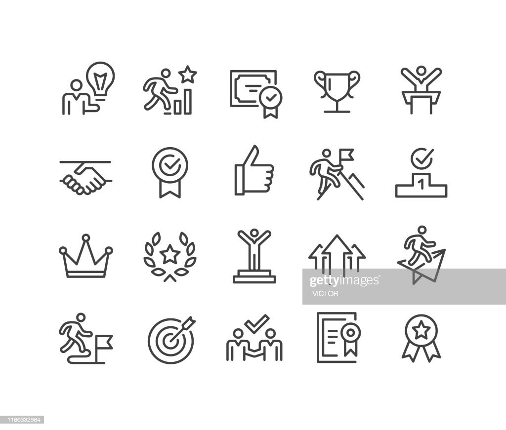 Success and Motivation Icons - Classic Line Series : stock illustration