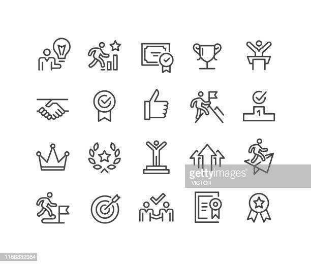 success and motivation icons - classic line series - scoring a goal stock illustrations