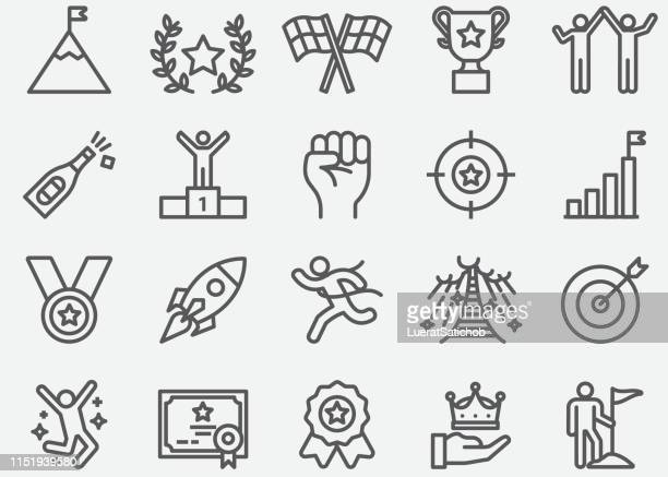 success and target line icons - north star stock illustrations