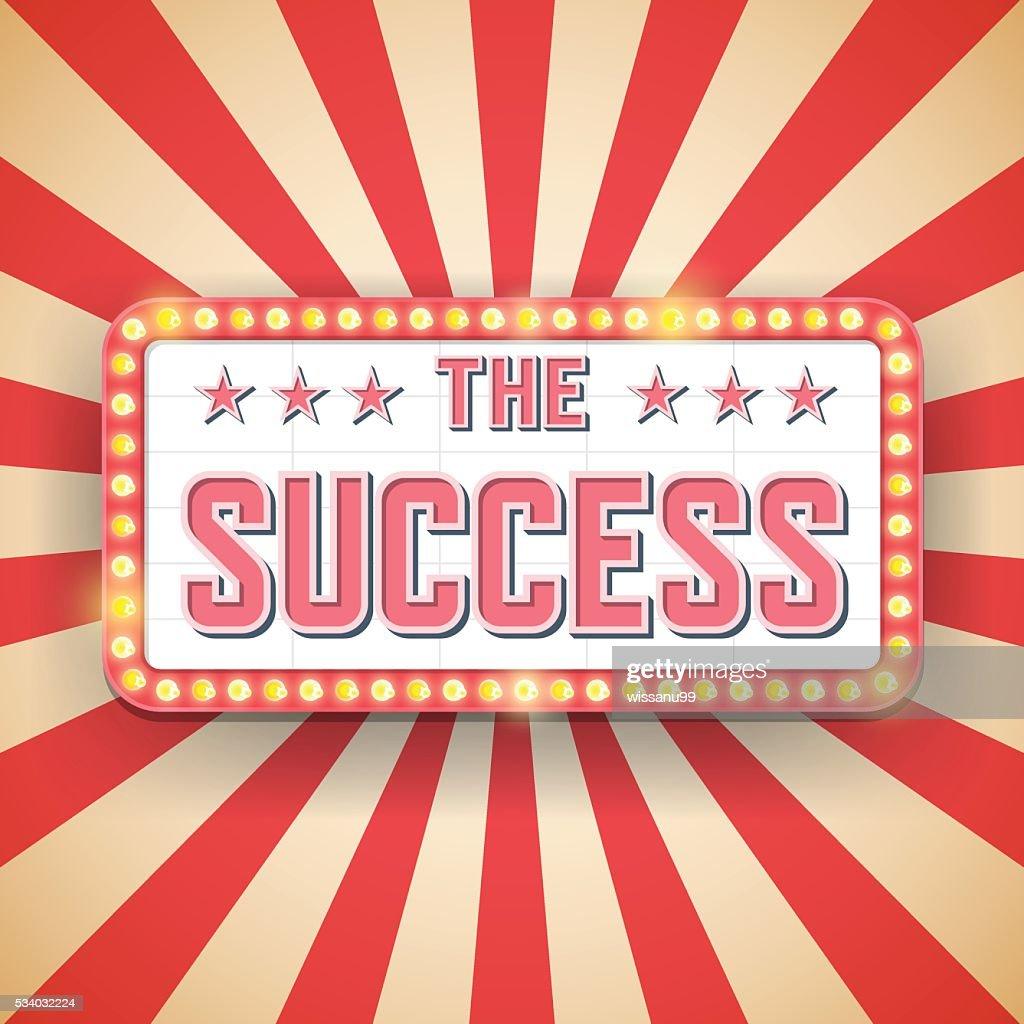 Success billboard. Retro light frames. success label. Vector ill