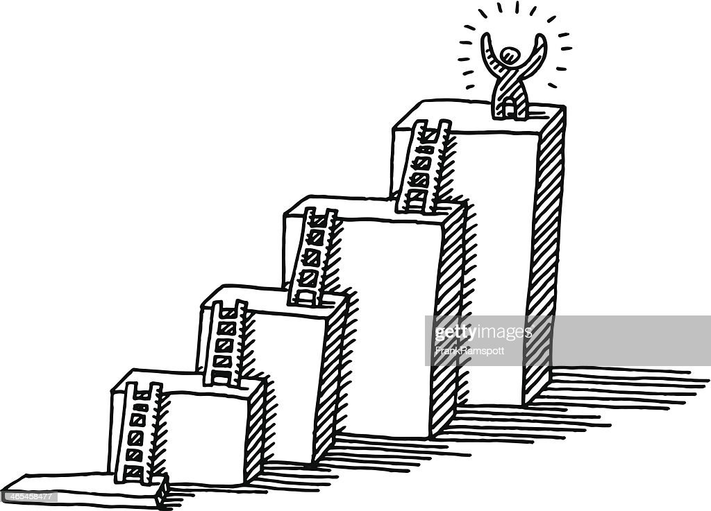 Success Business Concept Ladder Drawing