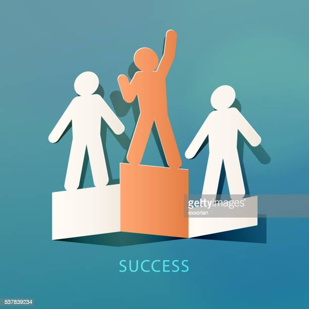 success concept paper cut - achievement stock illustrations, clip art, cartoons, & icons