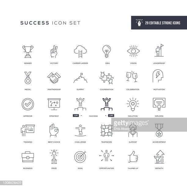 success editable stroke line icons - challenge stock illustrations