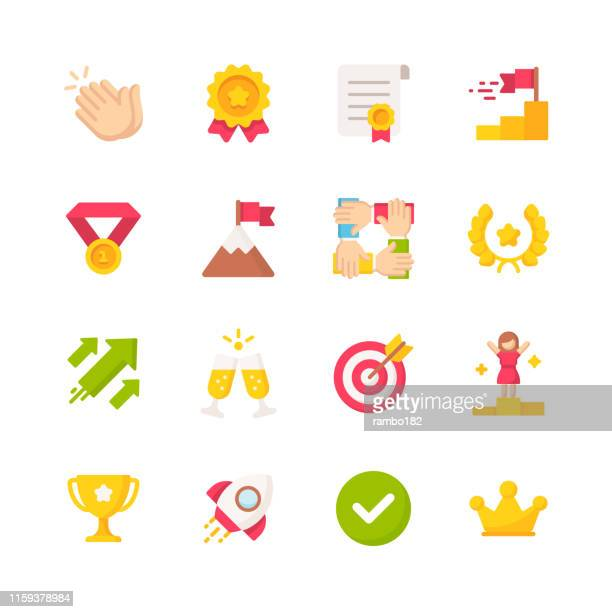 success flat icons. material design icons. pixel perfect. for mobile and web. contains such icons as applause, competition, medal, rocket, growth, trophy. - queen royal person stock illustrations