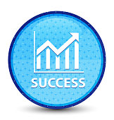 Success (statistics icon) galaxy cyan blue round button