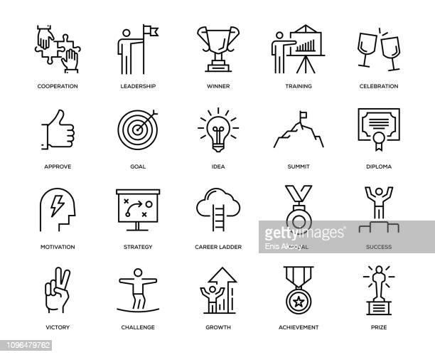success icon set - medallist stock illustrations