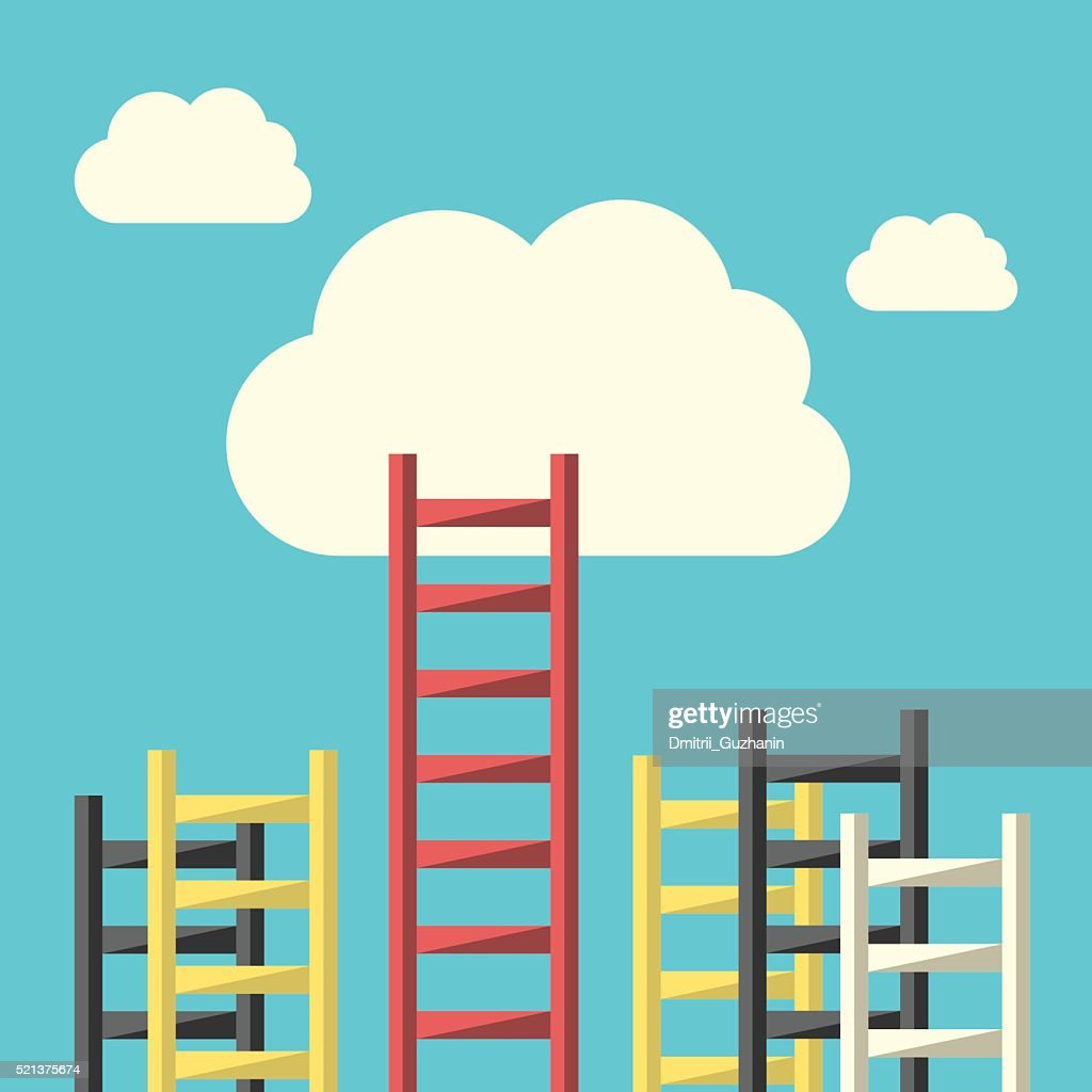 Success ladder to cloud
