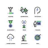 success line icon set