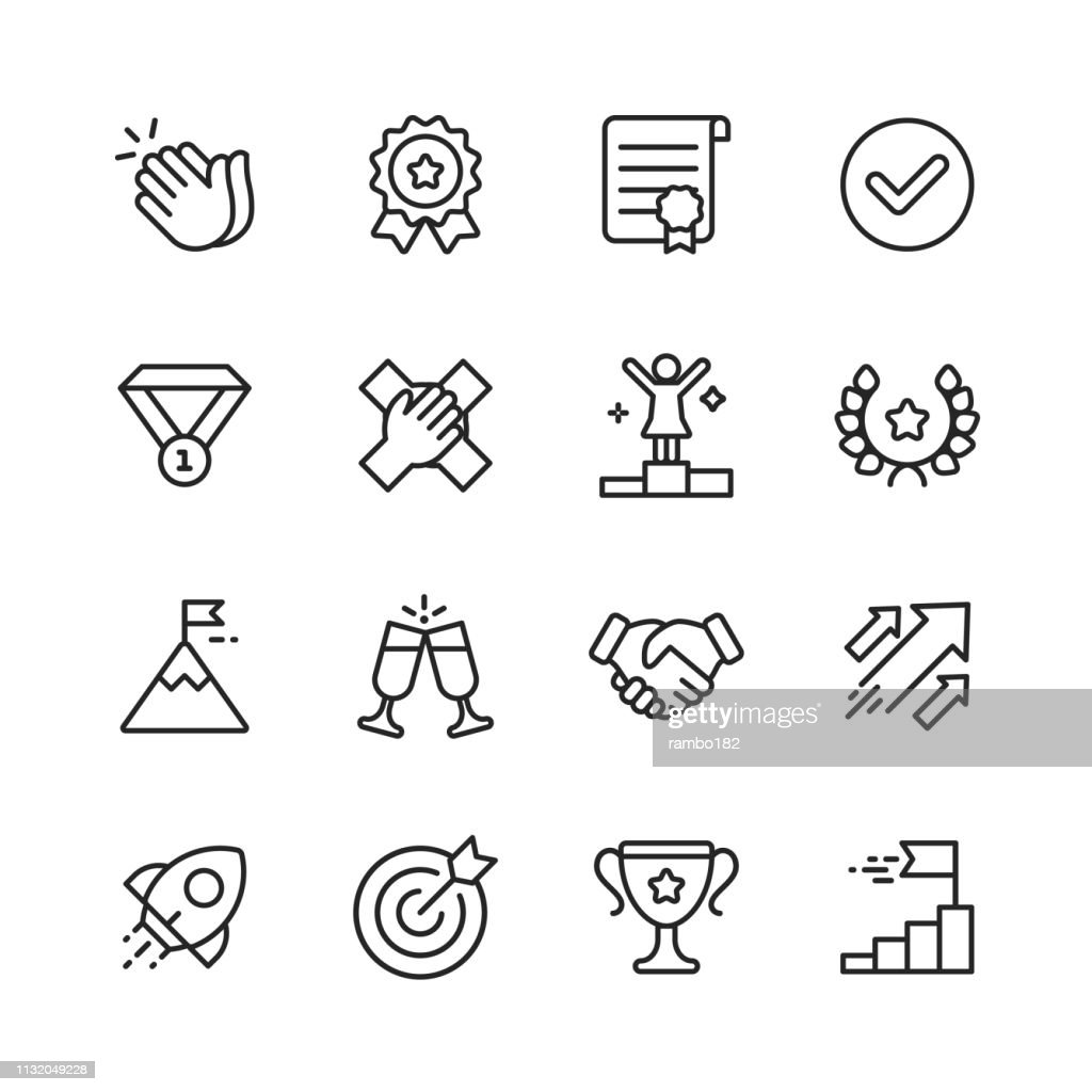 Success Line Icons. Editable Stroke. Pixel Perfect. For Mobile and Web. Contains such icons as Applause, Medal, Trophy, Champagne, StartUp, Handshake. : Ilustração de stock