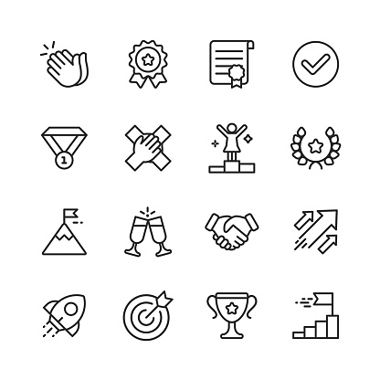 Success Line Icons. Editable Stroke. Pixel Perfect. For Mobile and Web. Contains such icons as Applause, Medal, Trophy, Champagne, StartUp, Handshake. - gettyimageskorea