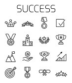 Success related vector icon set.