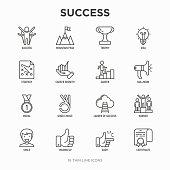 Success thin line icons set: trophy, idea, mountain peak, career, bullhorn, strategy, ladder, winner, medal, award, good choice, easy, certificate. Modern vector illustration.