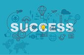 Success web page banner concept with thin line flat design