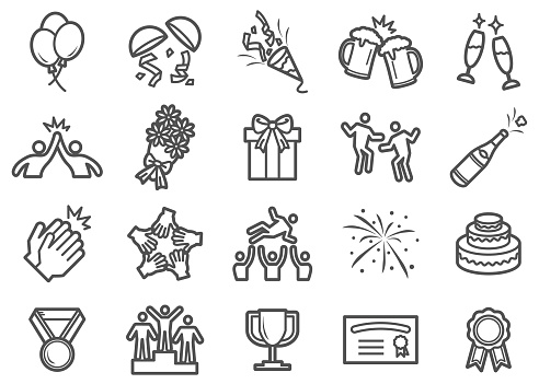 Successful and Celebration Line Icons - gettyimageskorea