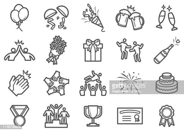 successful and celebration line icons - ecstatic stock illustrations
