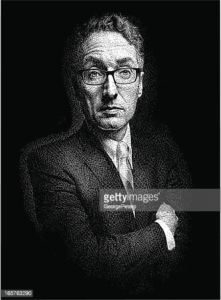 successful and powerful businessman - horn rimmed glasses stock illustrations, clip art, cartoons, & icons