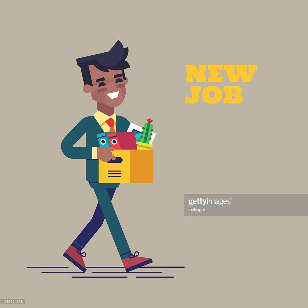 Successful black man going to the new job with box