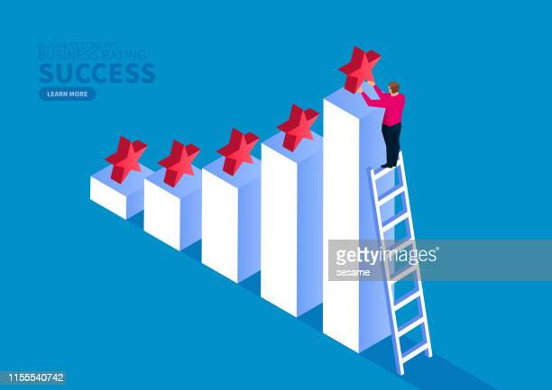 successful business and business service feedback rating - financial figures stock illustrations