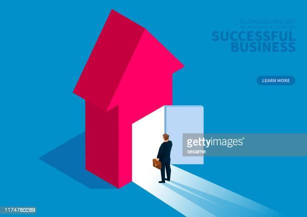 illustrazioni stock, clip art, cartoni animati e icone di tendenza di successful business, businessman standing in front of open door - concetti