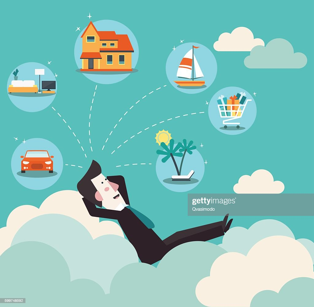 Successful business man relaxing on clouds and dreaming about house