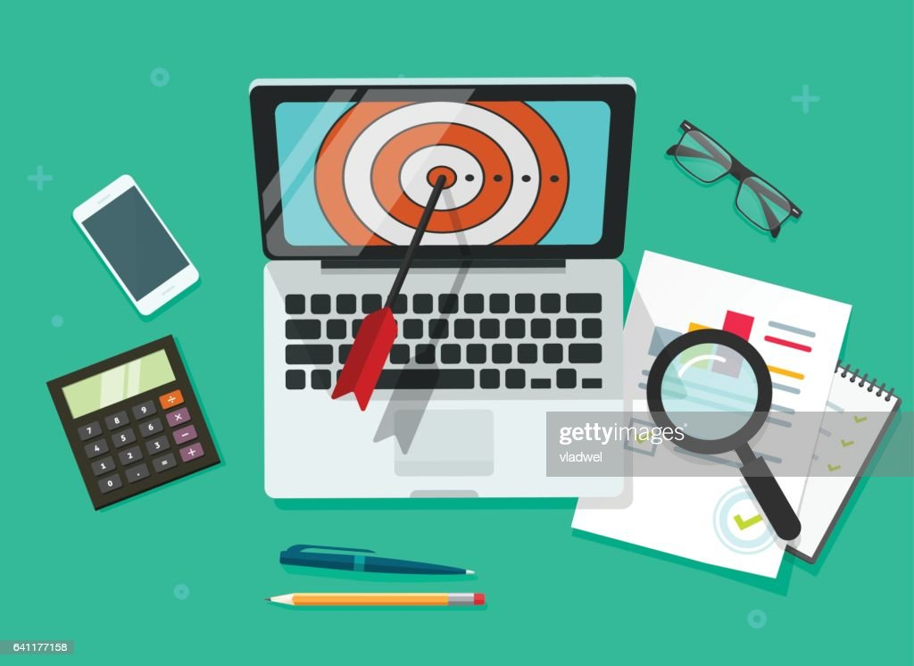 Successful Business target achievement vector illustration, laptop with aim and analysing financial data
