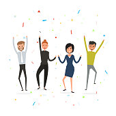 Successful business teamwork concept.Happy young business people.Business team of employees.Team of happy young man & woman icon.Business company partners.
