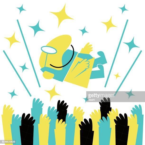 Erfolgreicher Geschäftsmann (glücklicher Mann, Vater, Lehrer) zu bekommen in die Luft von Mitarbeitern (Team) während der Feier geworfen. (Toss up, Lift)