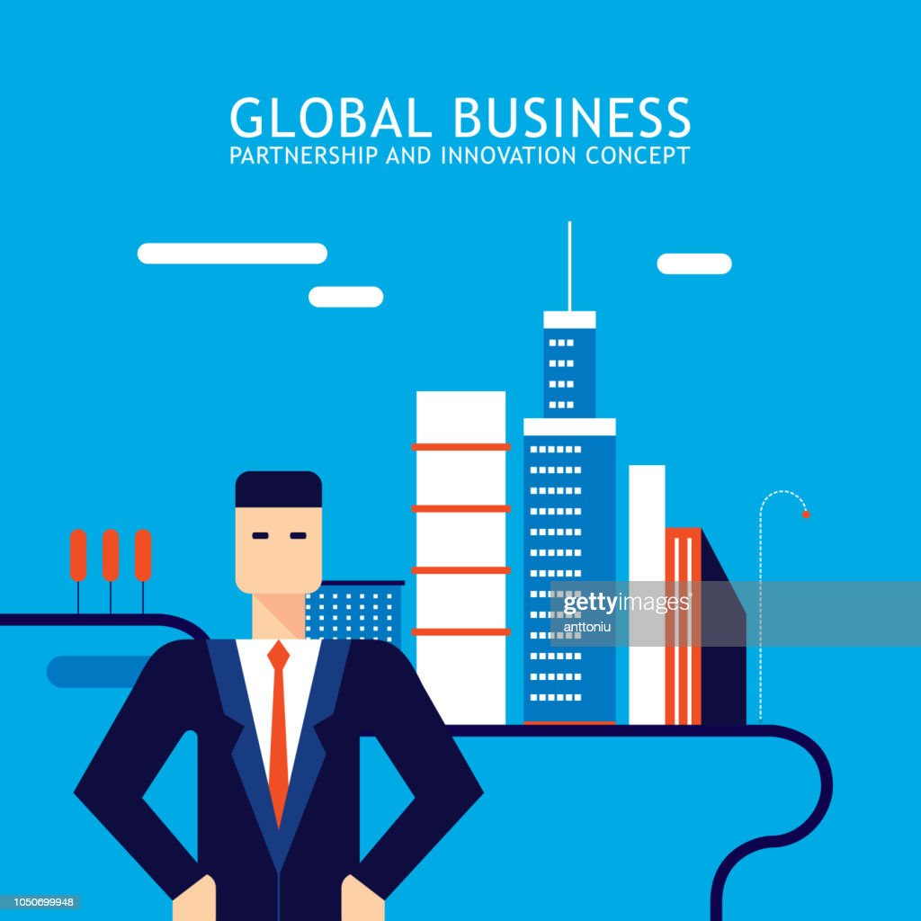 Successful Businessman on modern city downtown background Successful business concept