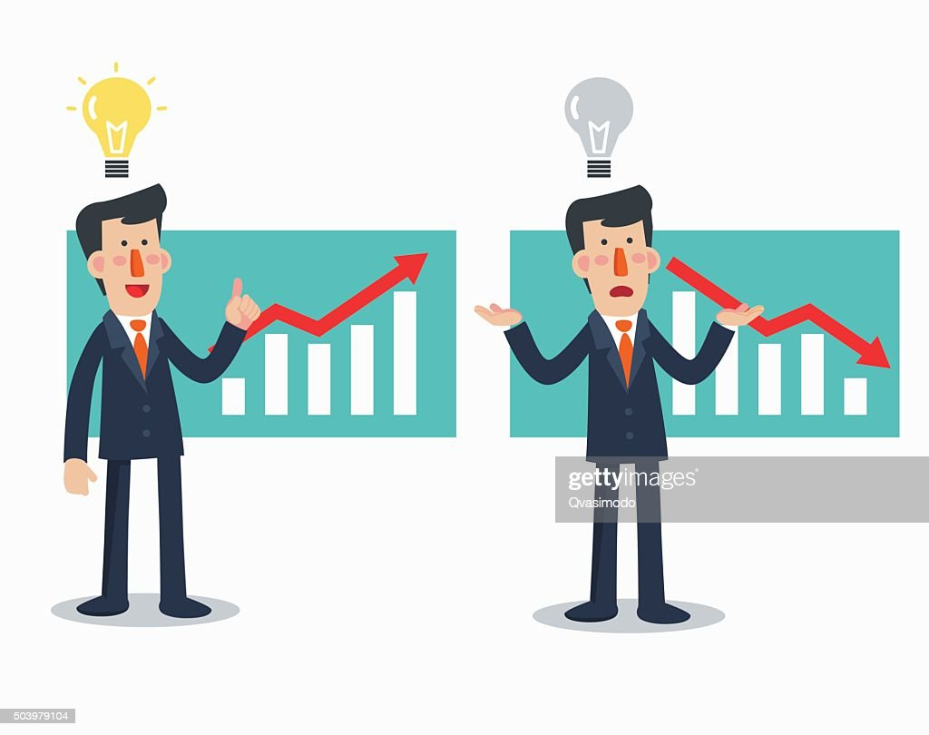 Successful businessman presenting chart. Sad businessman with arrow graph down