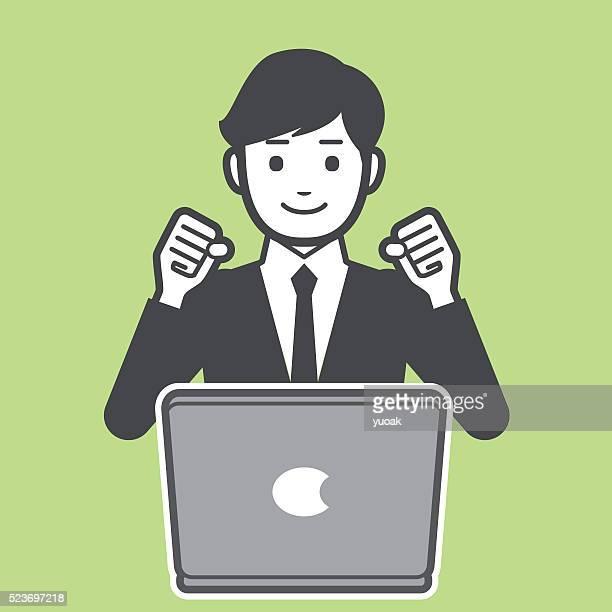 """ilustrações, clipart, desenhos animados e ícones de """"empresário bem sucedido"""" - trabalhador de colarinho branco"""